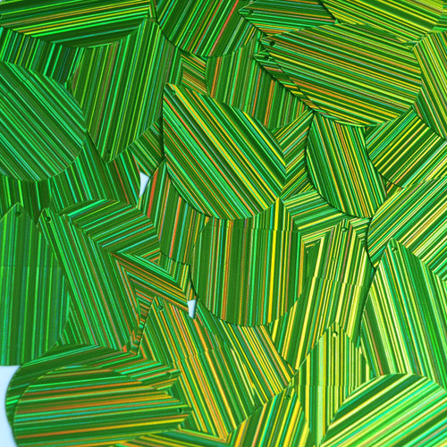 "Teardrop Sequin 1.5"" Lime Green  City Lights Metallic Reflective"