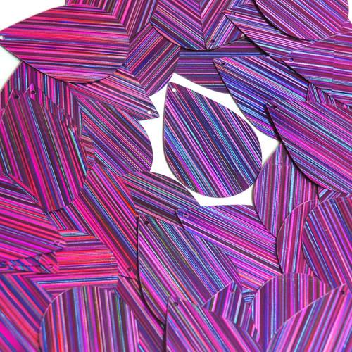 "Teardrop Sequin 1.5"" Purple City Lights Metallic Reflective"