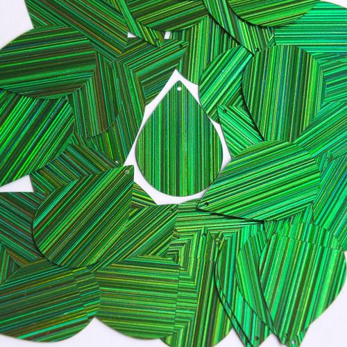 """Teardrop Sequin 1.5"""" Green City Lights Metallic Reflective"""