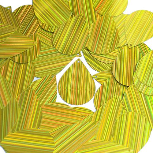 "Teardrop Sequin 1.5"" Yellow City Lights Metallic Reflective"