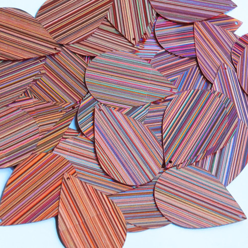 "Teardrop Sequin 1.5"" Salmon Pink City Lights Metallic Reflective"