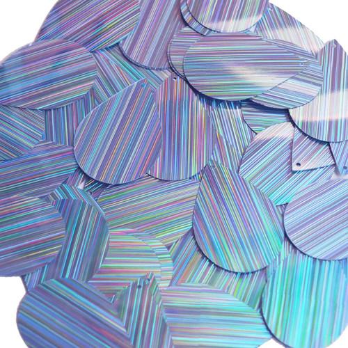 "Teardrop Sequin 1.5"" Light Blue City Lights Metallic Reflective"