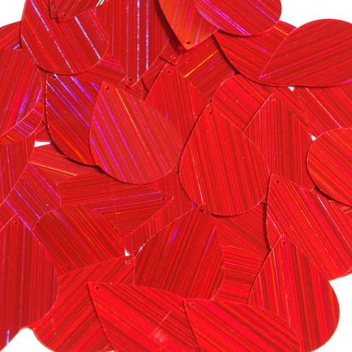 """Teardrop Sequin 1.5"""" Red City Lights Metallic Reflective"""