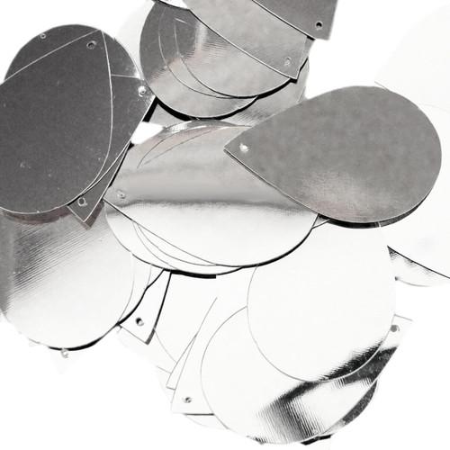 "Teardrop Sequin 1.5"" Silver Metallic"