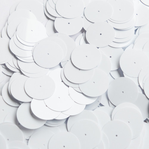20mm Sequins Center Hole White Opaque