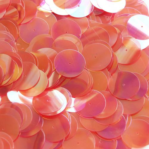 20mm Sequins Center Hole Coral Orange Crystal Rainbow Iris Iridescent
