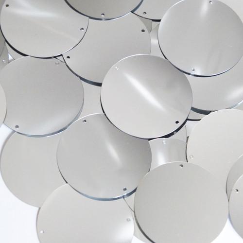 """Round Sequin 1.5"""" Silver Metallic"""