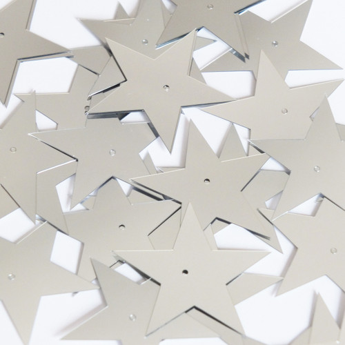 "Star 5 Point Sequin 1.5"" Silver Metallic"