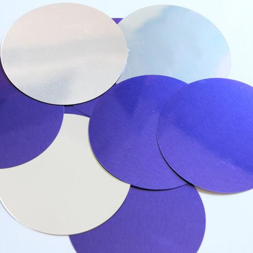 Round Sequin No Hole 70mm Purple Silver Metallic