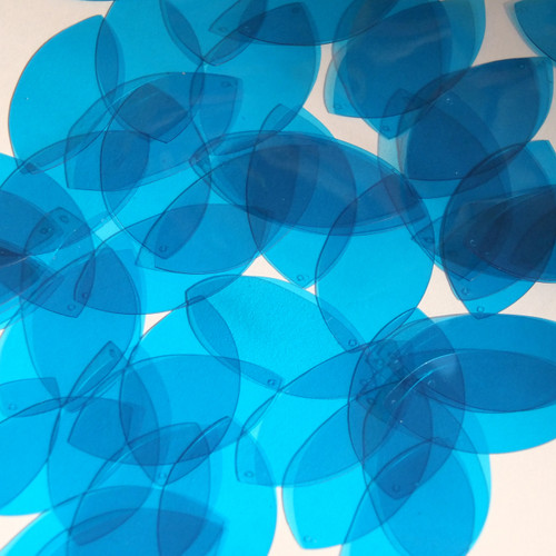 "Navette Leaf Vinyl Shape 1.5"" Blue Go Go Transparent"