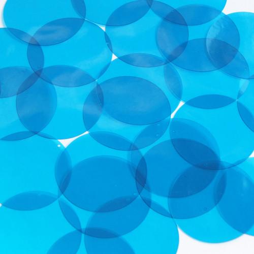"""Round Vinyl Shape 1.5"""" Blue Go Go Transparent"""