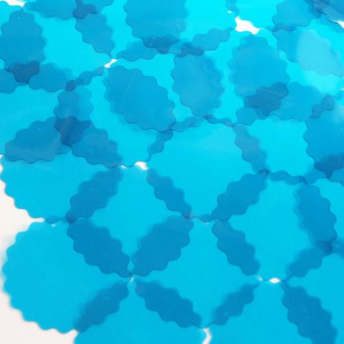 "Round Ruffle Edge Vinyl Shape 1.5"" Blue Go Go Transparent"