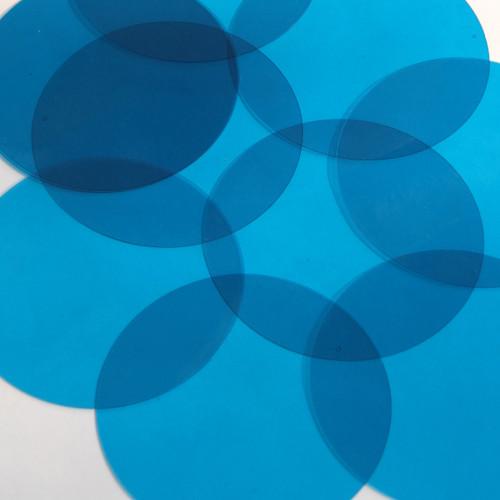 Round Vinyl Shape 60mm Blue Go Go Transparent