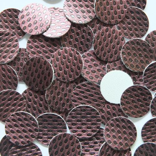 15mm Vinyl Disc Plum Metallic Embossed No Hole Round Circle