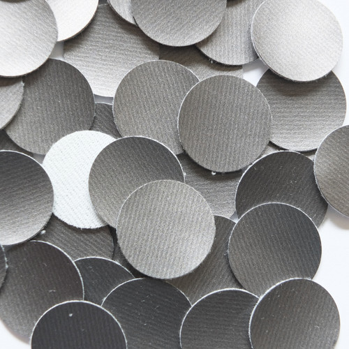 24mm Vinyl Disc Gray Smooth Banded No Hole Round Circle
