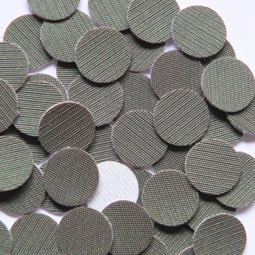 15mm Vinyl Disc Gray Green Fine Weave No Hole Round Circle