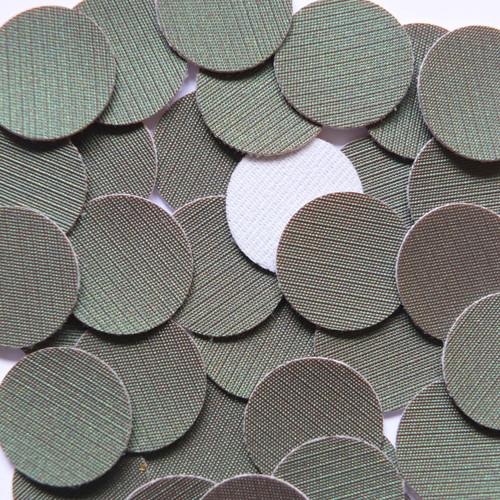24mm Vinyl Disc Gray Green Fine Weave No Hole Round Circle
