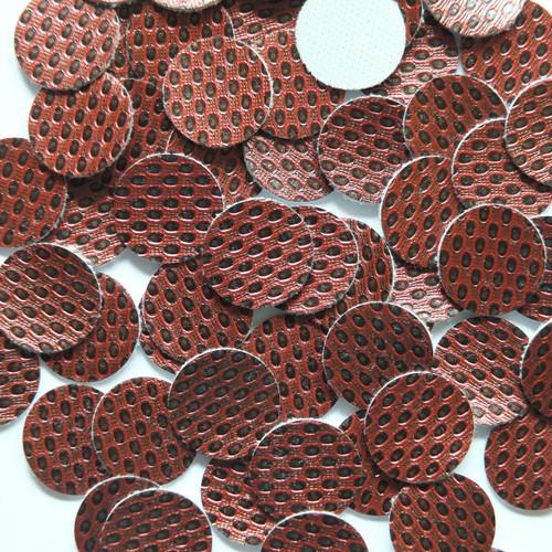15mm Vinyl Disc Wine  Metallic Embossed No Hole Round Circle