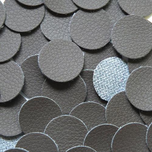 24mm Vinyl Disc Dark Brown Leather No Hole Round Circle