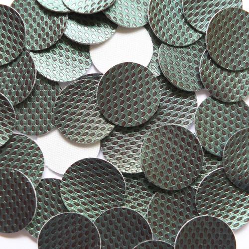 24mm Vinyl Disc Green  Metallic Embossed No Hole Round Circle