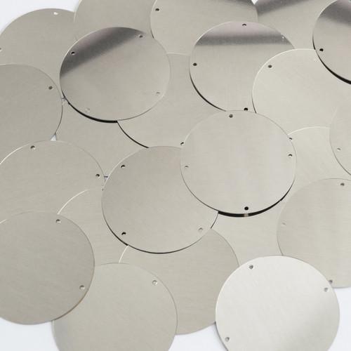 Round Sequins 40mm 4 hole Silver Metallic