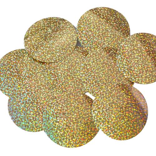 """Round Sequins 3"""" Gold Hologram Glitter Sparkle Metallic"""