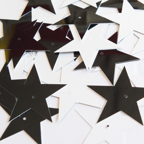 """Star 5 Point Sequins 1.5"""" Black and White Duo Two Sided Opaque"""