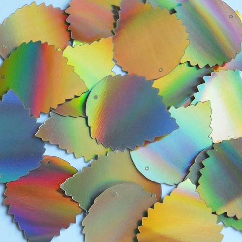 "Wide Leaf Sequins 1.25"" Gold Lazersheen Reflective Metallic"