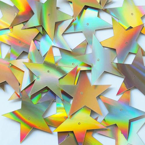 "Star 5 Point Sequins 1.5"" Gold Lazersheen Reflective Metallic"