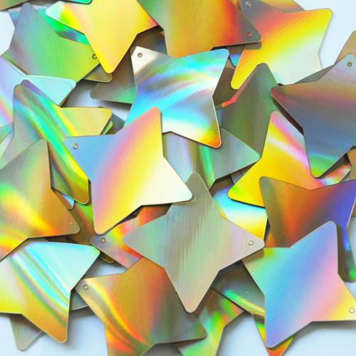 "Star 4 Point Sequins 1.5"" Gold Lazersheen Reflective Metallic"