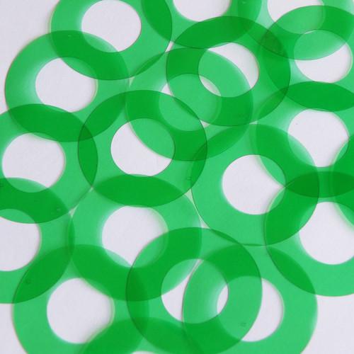 "1.5"" Symetrical Donut Vinyl Go Go Trans Green"