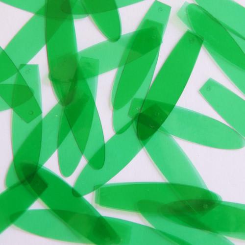 "1.5"" Elongated Teardrop Vinyl Go Go Trans Green"