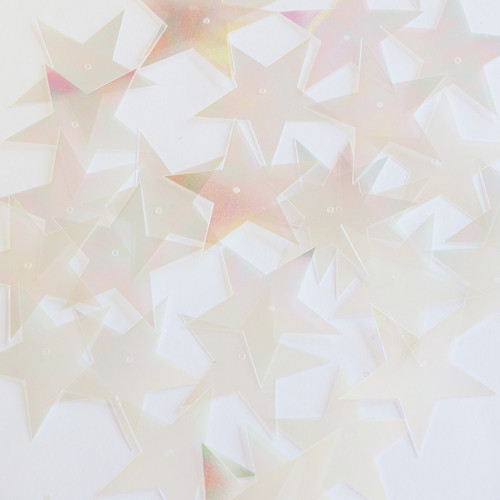 """Star 5 Point Sequins 1.5"""" Clear Crystal Iris Luminescent"""