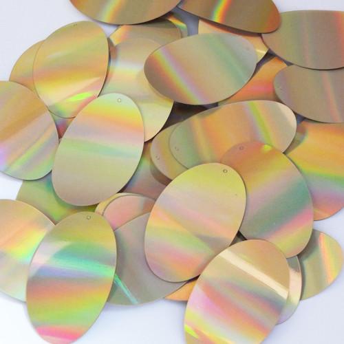 "Oval Sequins 2"" Gold Lazersheen Reflective Metallic"