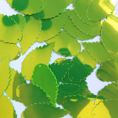 """Feather Leaf Sequins 1.5"""" Lime Green Metallic Fluorescent"""