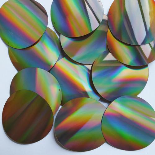 Round Sequins 60mm 2 hole Gold Lazersheen Reflective Metallic