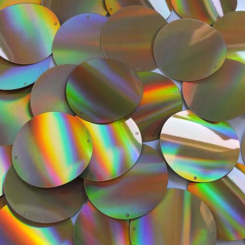 Round Sequins 40mm 2 hole Gold Lazersheen Reflective Metallic