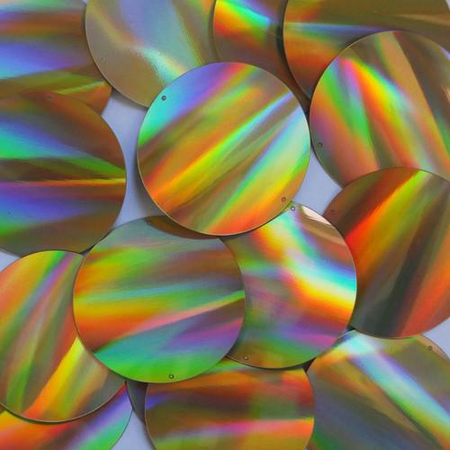 Round Sequins 50mm 2 hole Gold Lazersheen Reflective Metallic