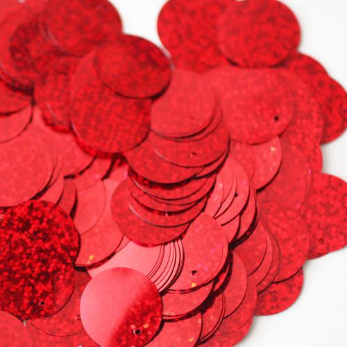 24mm Sequins Top Hole Red Hologram Glitter Sparkle Metallic