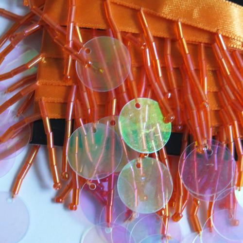 Orange Beaded Sequin Fringe