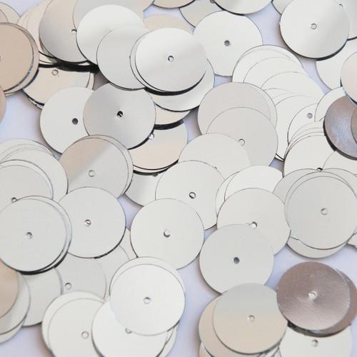 Round sequins 15mm Silver Metallic