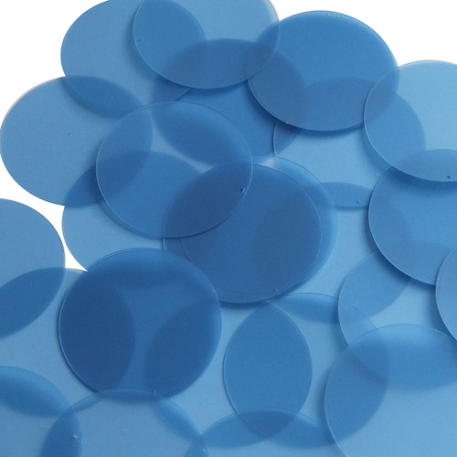 Round sequins 40mm Cornflower Blue Transparent Glossy and Matte Duo Two Sided