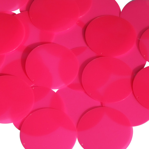 Round sequins 40mm Pink Fluorescent Transparent Glossy and Matte Duo Two Sided