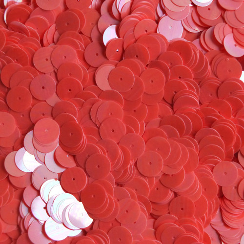 10mm Flat Round Sequins Coral Orange Luster Shiny Opaque