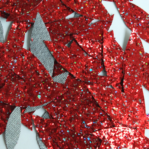Red Glitter Fabric Super Sparkle Hand Cut Leaves