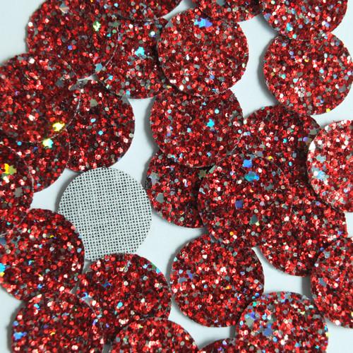 Round Disc Red Fireworks Glitter Fabric Super Sparkle