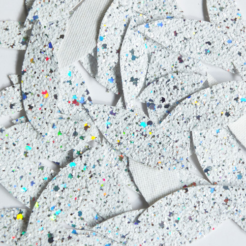 White Glitter Fabric Super Sparkle Hand Cut Leaves