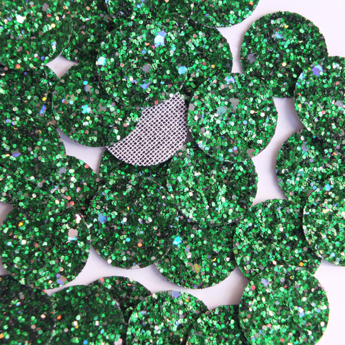 Round Disc Green Glitter Fabric Super Sparkle
