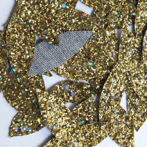 Gold Glitter Fabric Super Sparkle Hand Cut Leaves