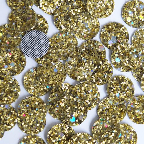Round Disc Gold Glitter Fabric Super Sparkle
